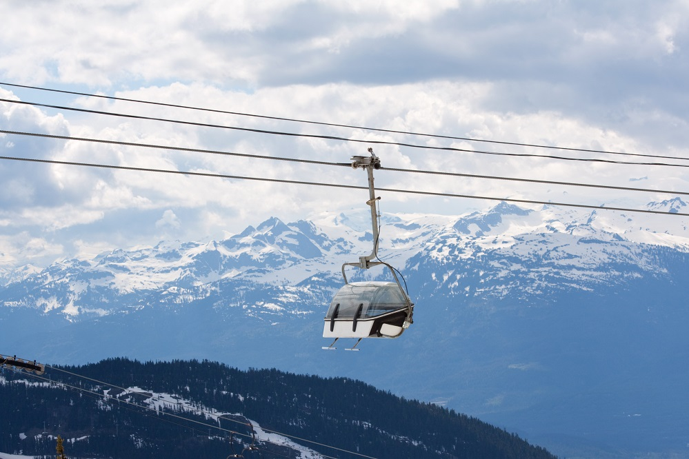 Chair lift for the ski runs at Whistler Peak resort in British Columbia, Canada